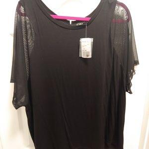 Forever21+ Sheer Sleeved Black Top